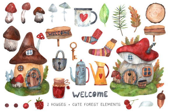 Print on Demand: Forest Houses Watercolor Set Graphic Illustrations By VashaRisovasha - Image 2