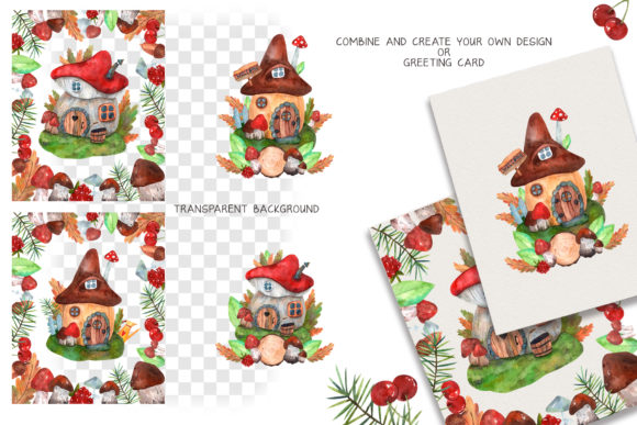 Print on Demand: Forest Houses Watercolor Set Graphic Illustrations By VashaRisovasha - Image 4