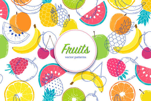 Fruits.Vector Patterns. Graphic Patterns By fatamorganaoptic