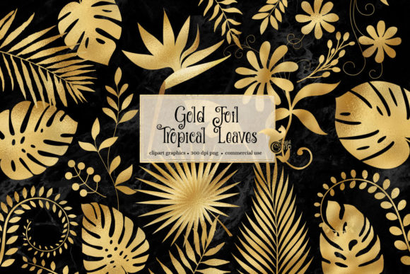 Print on Demand: Gold Foil Tropical Leaves Clipart Graphic Illustrations By Digital Curio