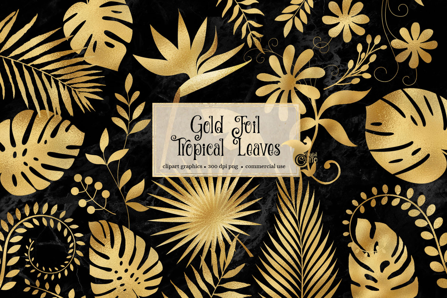Download Free Gold Foil Tropical Leaves Clipart Graphic By Digital Curio SVG Cut Files