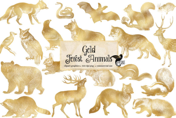Print on Demand: Gold Forest Animals Clipart Graphic Illustrations By Digital Curio