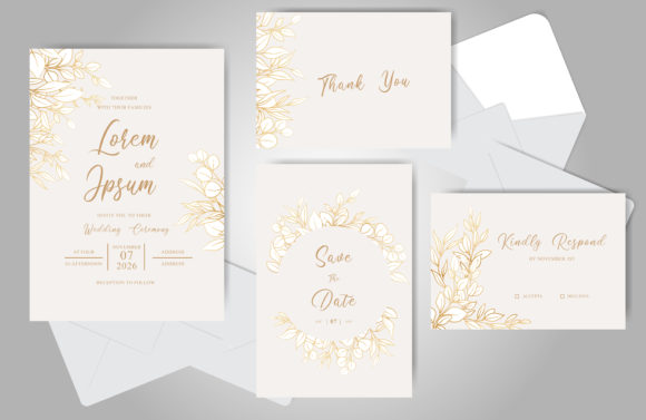 Download Free Golden Foliage Wedding Invitation Bundle Graphic By Federiqoend for Cricut Explore, Silhouette and other cutting machines.