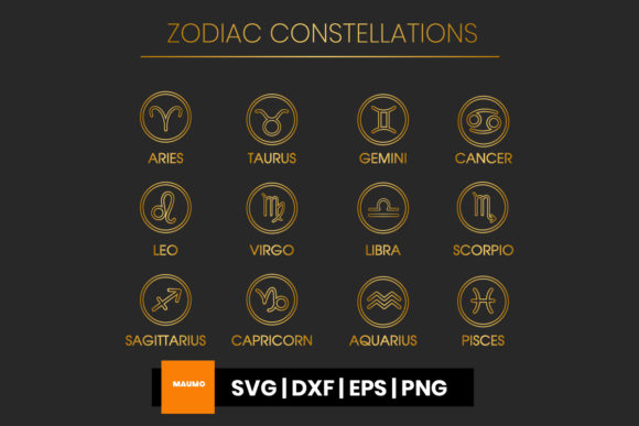 Print on Demand: Golden Zodiac Signs Graphic Icons By Maumo Designs