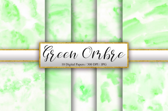 Green Ombre Watercolor Background Graphic Backgrounds By PinkPearly