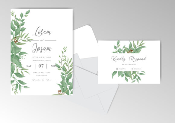 Download Free Greenery Wedding Invitation Cards Set Graphic By Federiqoend SVG Cut Files