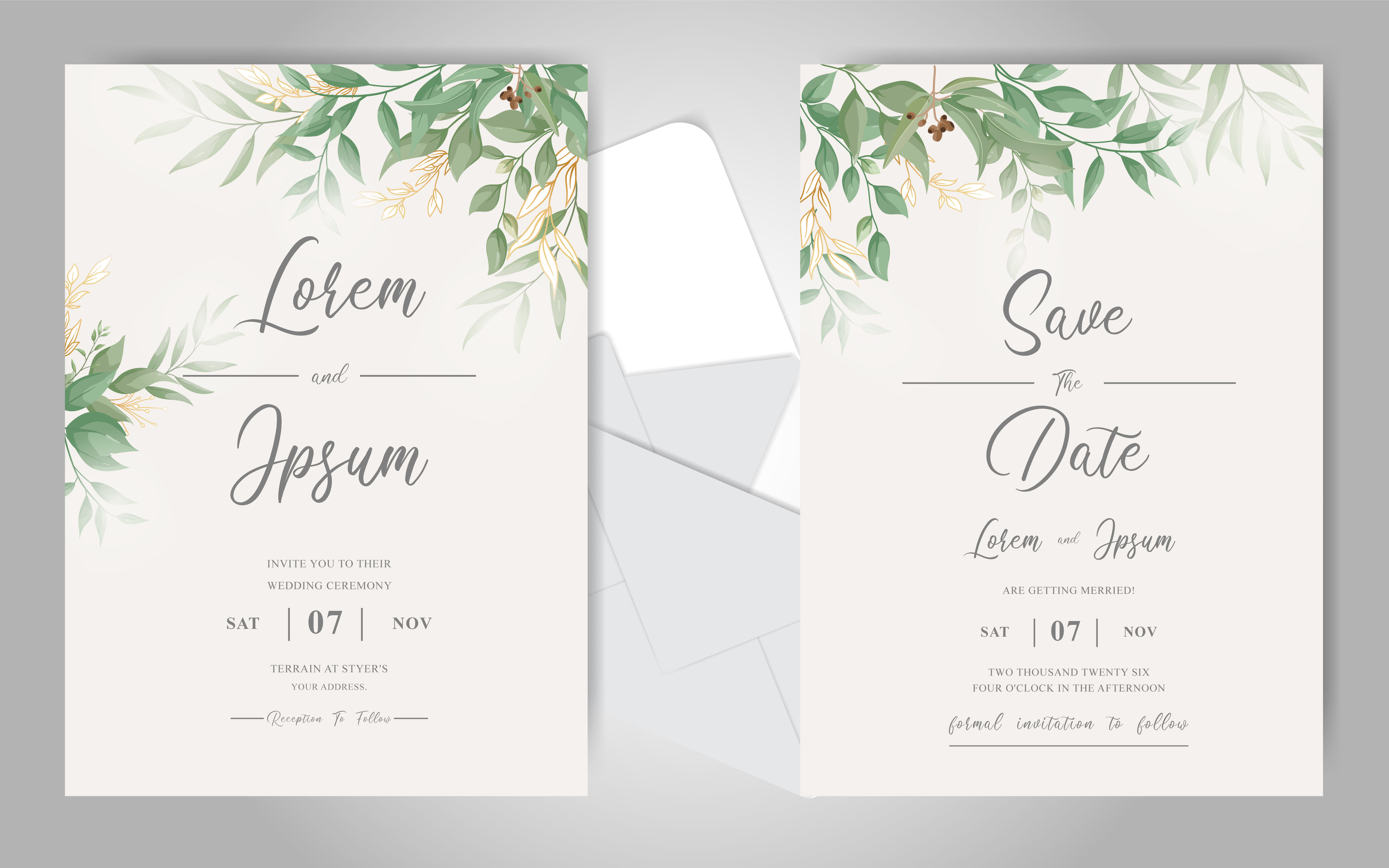 Download Free Greenery Wedding Invitation Cards Set Graphic By Federiqoend for Cricut Explore, Silhouette and other cutting machines.