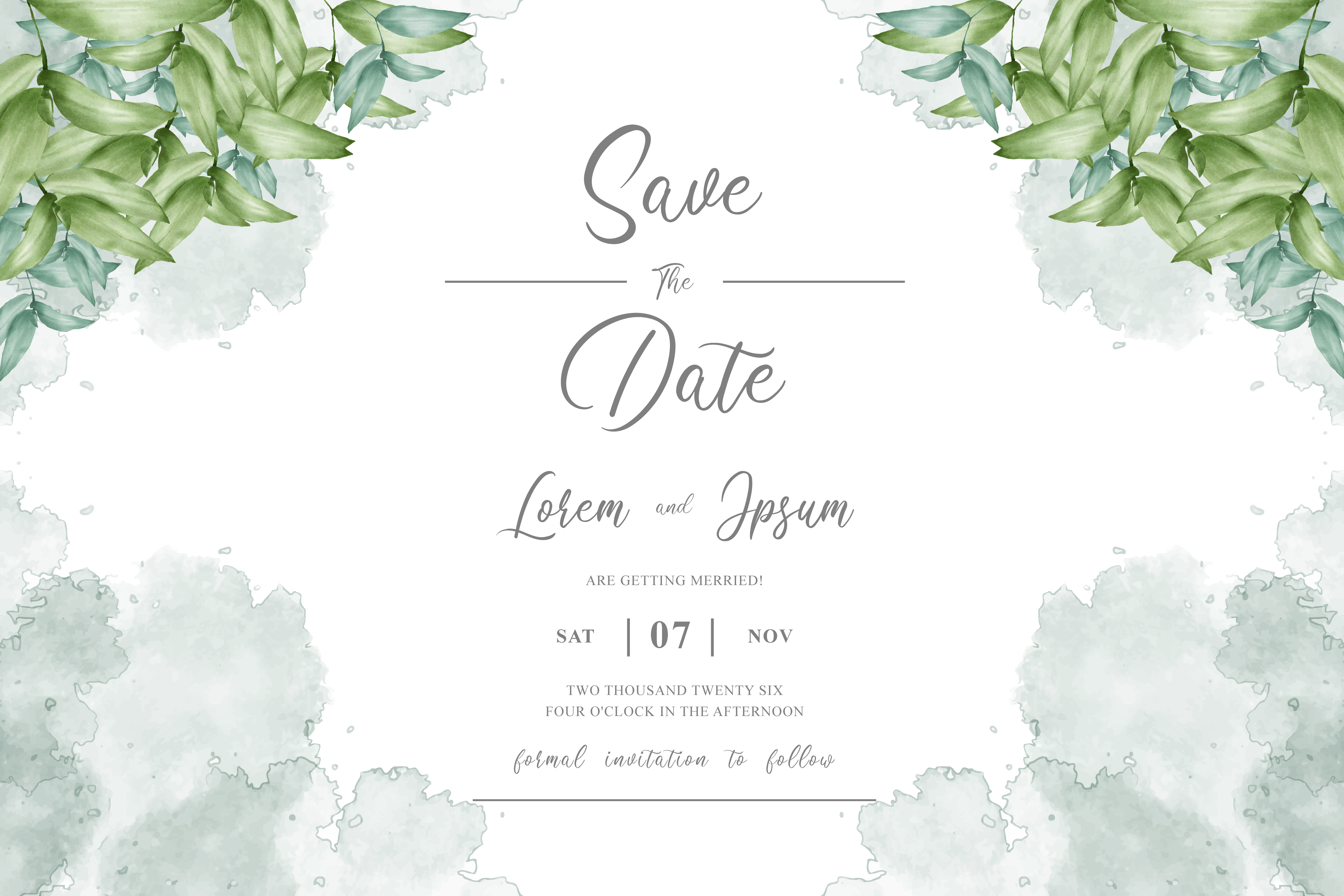 Download Free Greenery Watercolor Wedding Invitation Graphic By Federiqoend for Cricut Explore, Silhouette and other cutting machines.