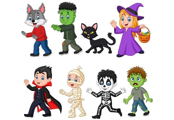 Download Free Halloween Children Clipart Set Graphic Graphic By Tigatelusiji for Cricut Explore, Silhouette and other cutting machines.