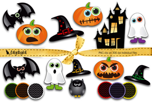 Download Free Halloween Clip Art Individual Files Graphic By Catgodigital for Cricut Explore, Silhouette and other cutting machines.