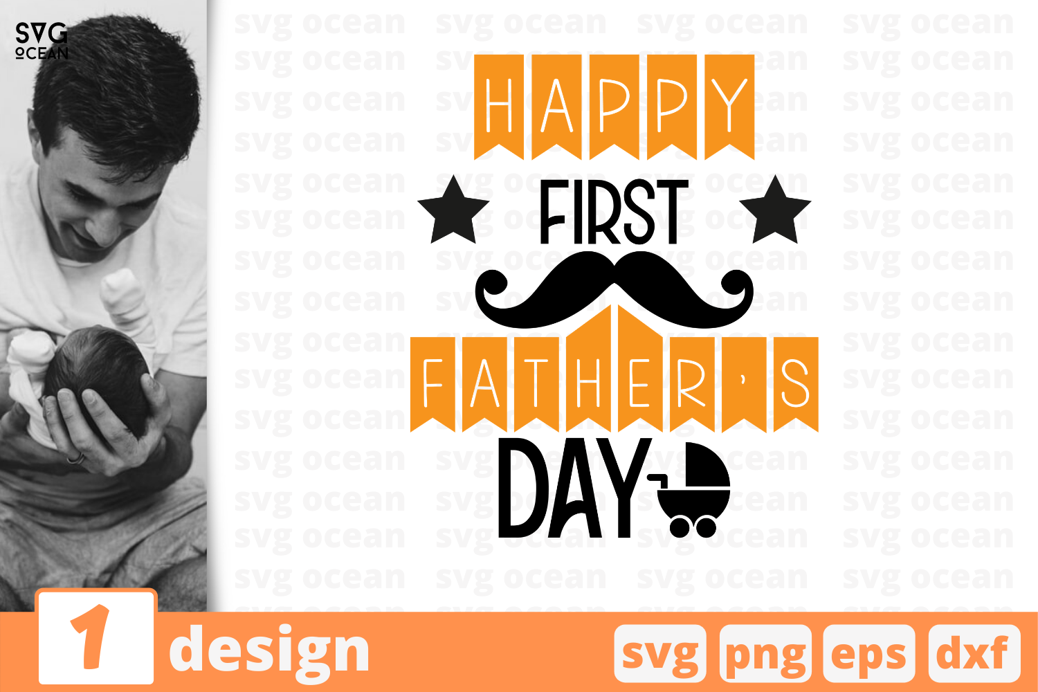 Download Free Happy First Father S Day Graphic By Svgocean Creative Fabrica for Cricut Explore, Silhouette and other cutting machines.