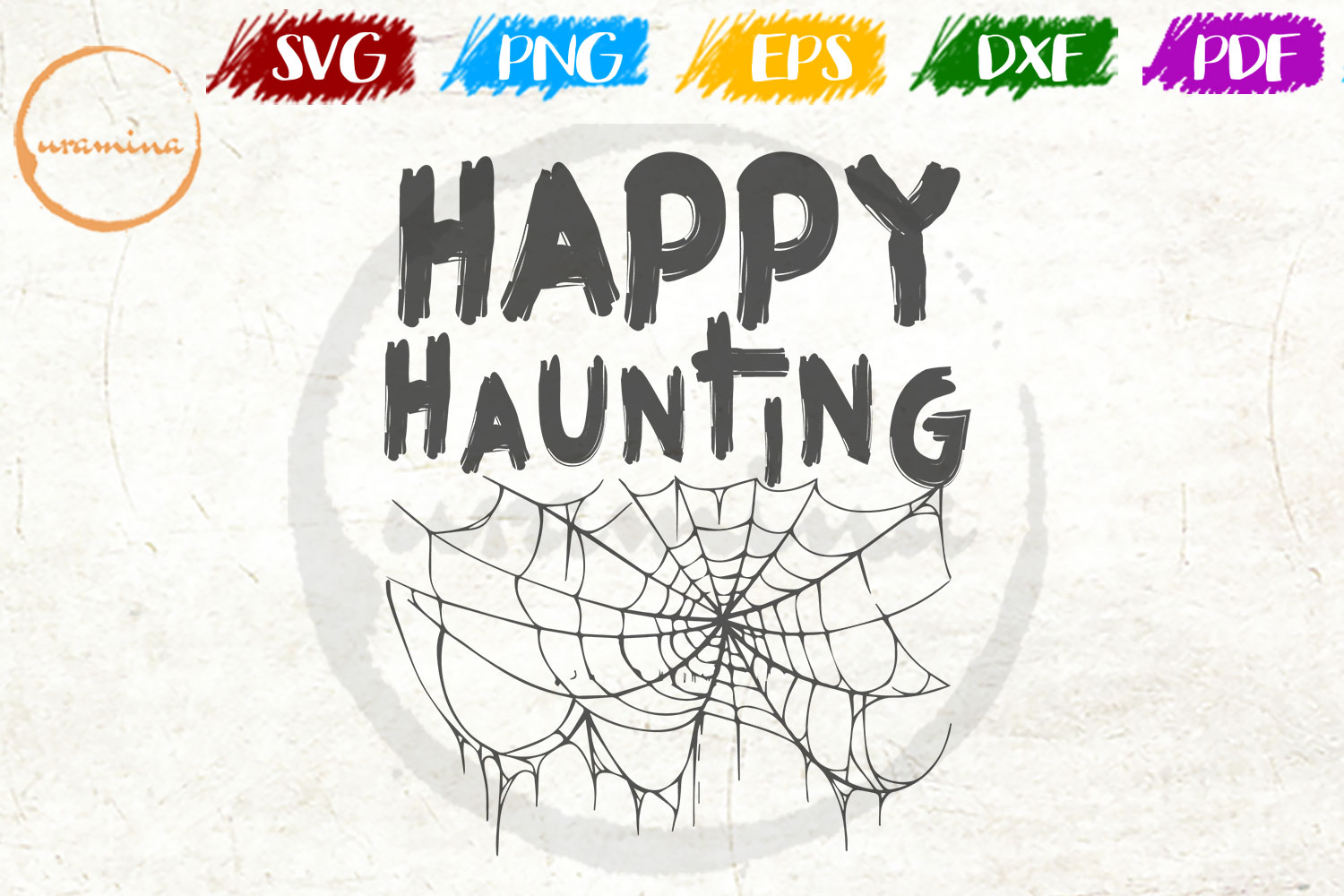 Download Free Happy Haunting Graphic By Uramina Creative Fabrica for Cricut Explore, Silhouette and other cutting machines.