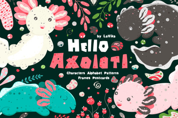 Hello Axolotl - Graphics Cute Salamander Graphic Illustrations By LaVika