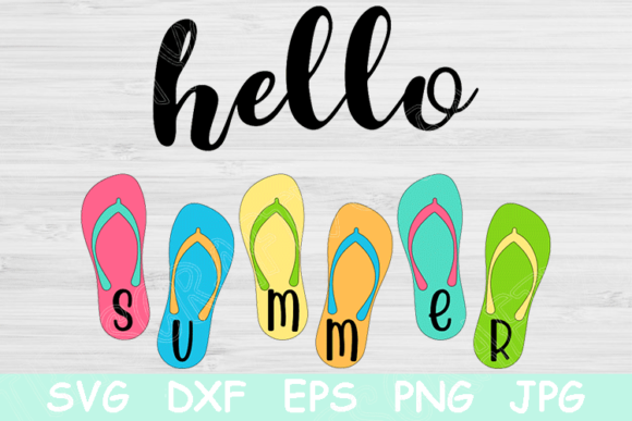 Download Free Hello Summer Flip Flops Graphic By Tiffscraftycreations for Cricut Explore, Silhouette and other cutting machines.