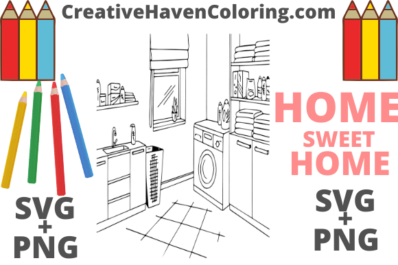 Download Free Home Sweet Home Coloring Page 17 Graphic By for Cricut Explore, Silhouette and other cutting machines.