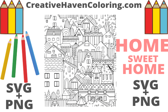 Print on Demand: Home Sweet Home Coloring Page #8 Graphic Coloring Pages & Books Adults By creativehavencoloring