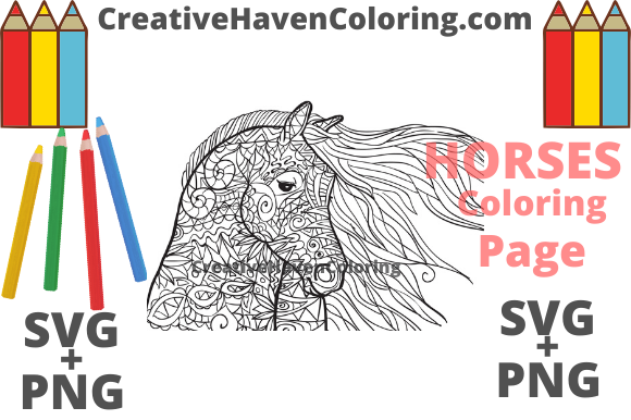 Download Free Horse Coloring Page 11 Graphic By Creativehavencoloring for Cricut Explore, Silhouette and other cutting machines.