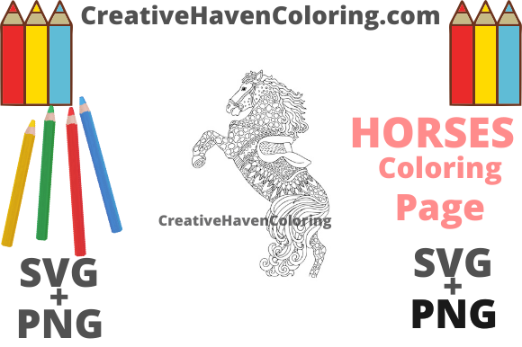 Download Free Horse Coloring Page 12 Graphic By Creativehavencoloring for Cricut Explore, Silhouette and other cutting machines.