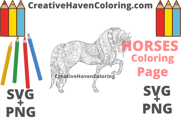 Download Free Horse Coloring Page 16 Graphic By Creativehavencoloring for Cricut Explore, Silhouette and other cutting machines.