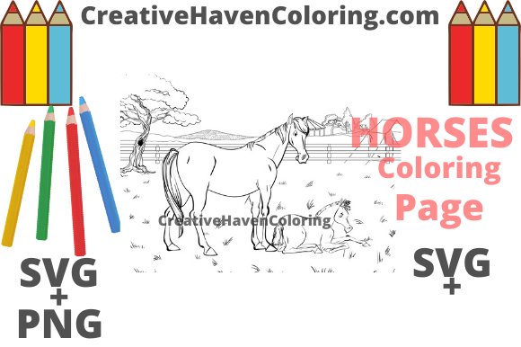 Download Free Horse Coloring Page 5 Graphic By Creativehavencoloring for Cricut Explore, Silhouette and other cutting machines.