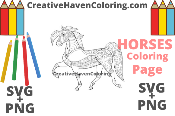 Print on Demand: Horse Coloring Page #9 Graphic Coloring Pages & Books Adults By creativehavencoloring