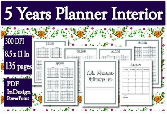 Print on Demand: KDP Interior 5 Years Planner Graphic KDP Interiors By Ivana Prue