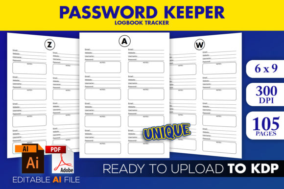 KDP Interior Password Logbook Graphic KDP Interiors By Beast Designer - Image 1