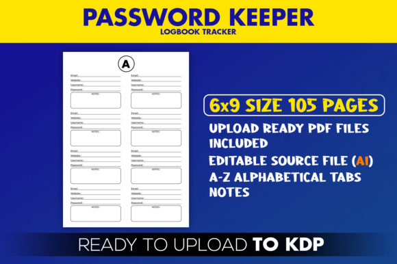 Download Free Kdp Interior Password Logbook Graphic By Beast Designer for Cricut Explore, Silhouette and other cutting machines.