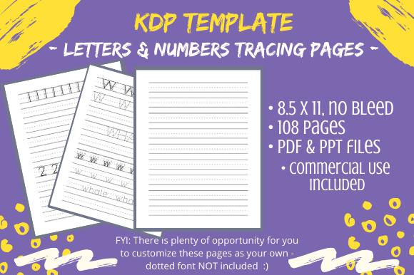 Download Free Kdp Kids Letters Numbers Tracing Pages Graphic By Tomboy for Cricut Explore, Silhouette and other cutting machines.