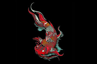 Print on Demand: Koi Fish & Shells Embroidery Design By Samsul Huda