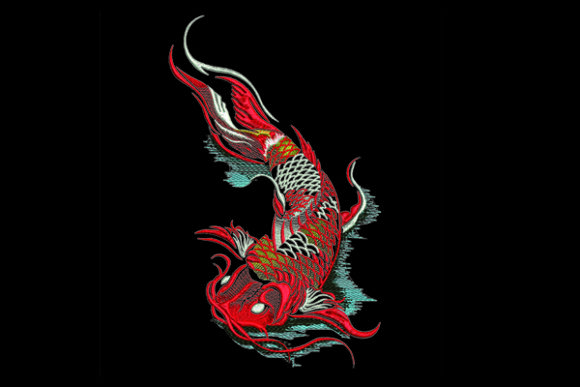 Koi Fish & Shells Embroidery Design By Samsul Huda