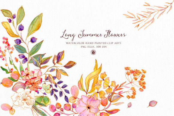 Print on Demand: Long Summer Flowers - Watercolor Set Grafik Illustrationen von webvilla