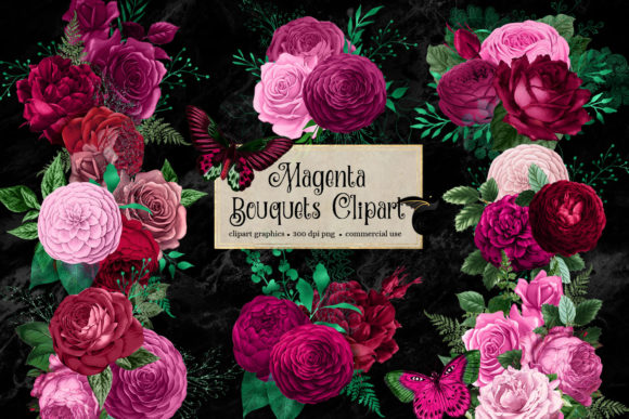 Print on Demand: Magenta Bouquets Clipart Graphic Illustrations By Digital Curio