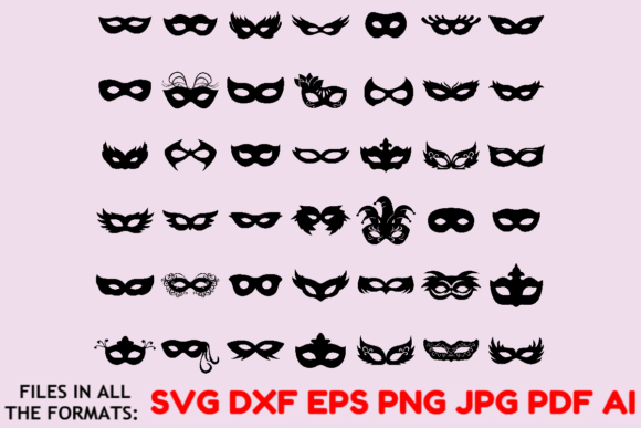 Download Free Masks Bundle Carnival Mask Svg Dxf Jpeg Graphic By Masterfont Creative Fabrica for Cricut Explore, Silhouette and other cutting machines.