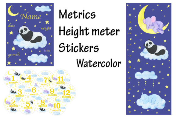 Metric Height Meter Stickers Watercolor Graphic Illustrations By shishkovaiv