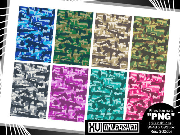 Download Free Military Camouflage Weapons Graphic By Xvi Unleashed Creative for Cricut Explore, Silhouette and other cutting machines.