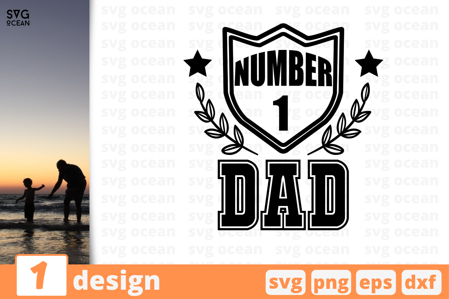 Download Free Number 1 Dad Graphic By Svgocean Creative Fabrica for Cricut Explore, Silhouette and other cutting machines.