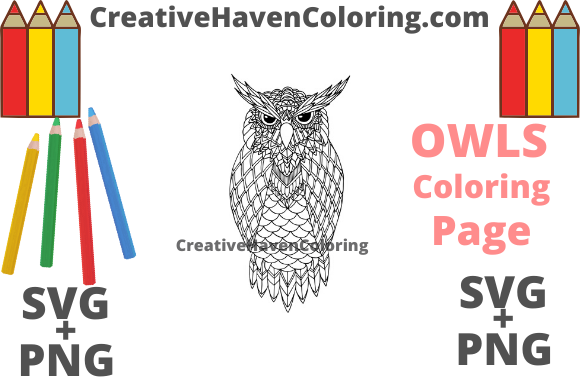 Download Free Owl Coloring Page 1 Svg Png Graphic By for Cricut Explore, Silhouette and other cutting machines.