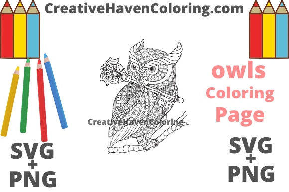 Print on Demand: Owl Coloring Page #7 Graphic Coloring Pages & Books Adults By creativehavencoloring