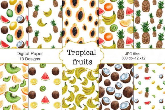Pattern Tropical Fruits Watercolor Graphic Illustrations By shishkovaiv
