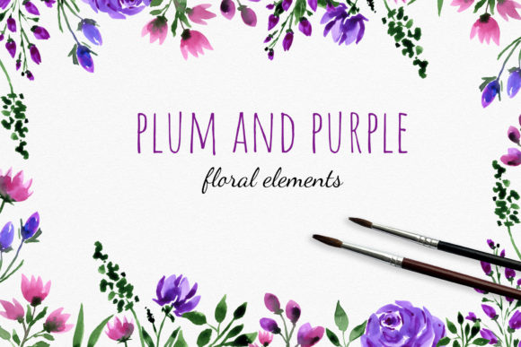 Plum and Purple Flowers Clipart Graphic Illustrations By RedDotsHouse