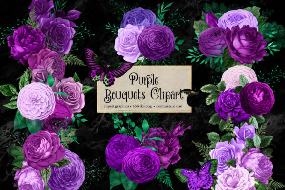 Print on Demand: Purple Bouquets Clipart Graphic Illustrations By Digital Curio