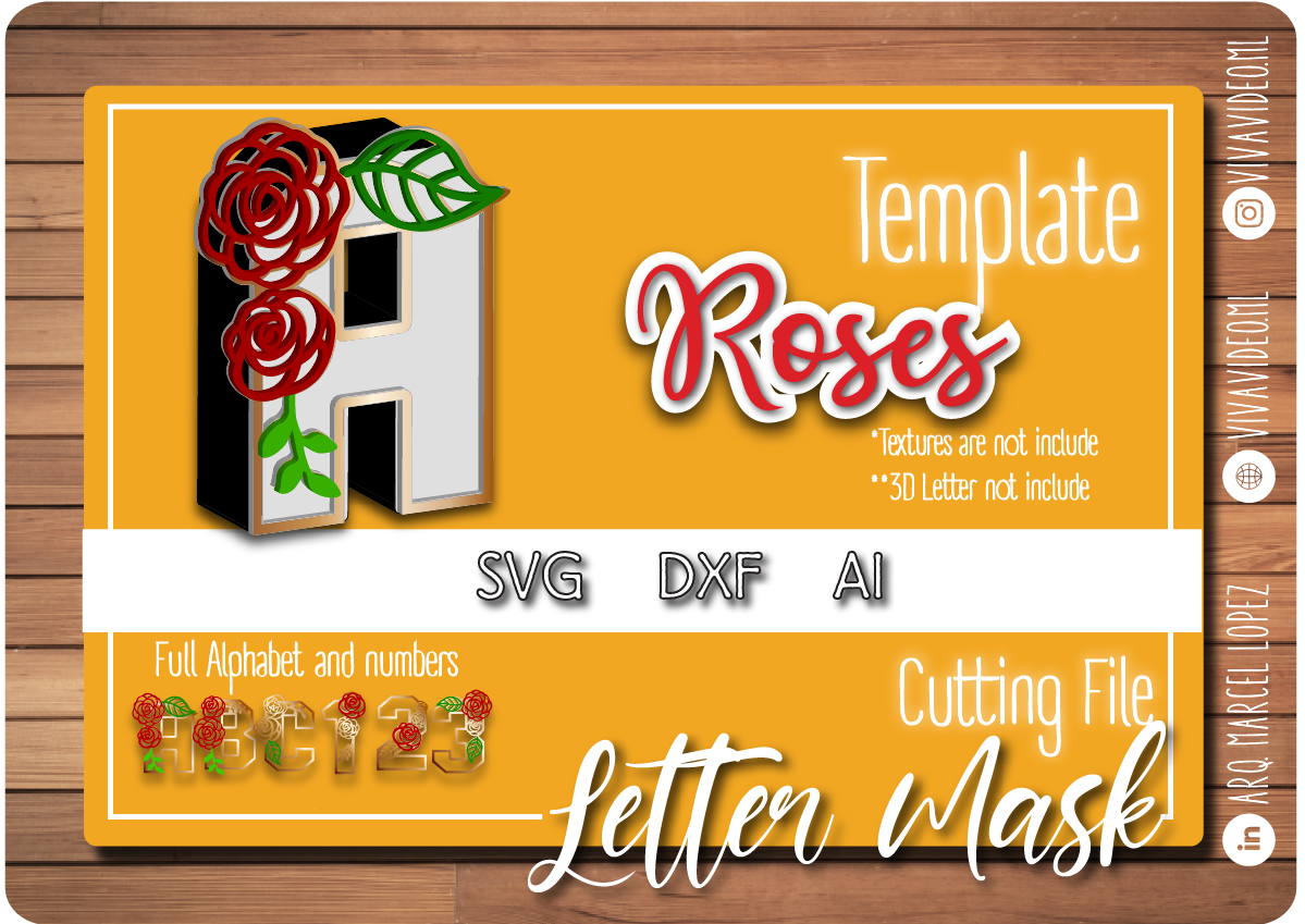 Download Free Roses 3d Letter Mask Graphic By Marcel De Cisneros Creative for Cricut Explore, Silhouette and other cutting machines.