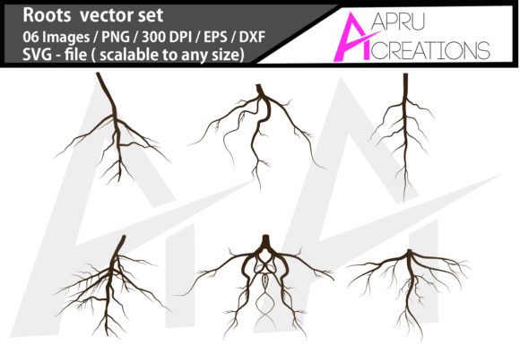 Download Free Roots Silhouette Set Graphic By Aparnastjp Creative Fabrica for Cricut Explore, Silhouette and other cutting machines.
