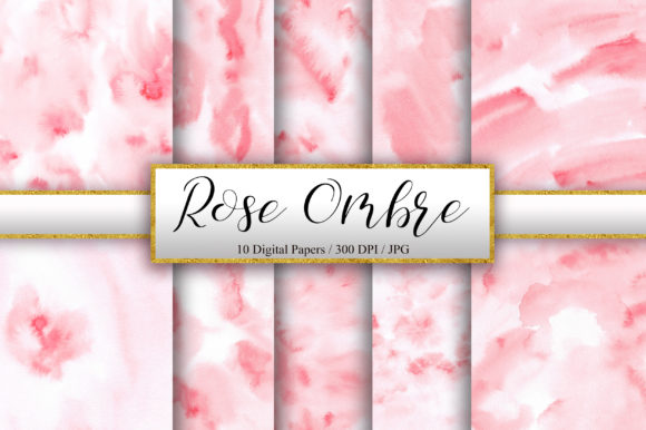 Rose Ombre Watercolor Background Graphic Backgrounds By PinkPearly