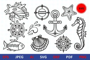 Print on Demand: Sea Life Icon Clipart Underwater Graphic Illustrations By millerzoa