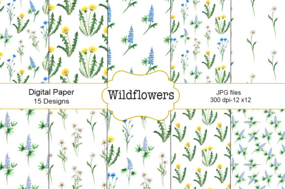 Download Free Seamless Patter Wildflowers Watercolor Graphic By Shishkovaiv for Cricut Explore, Silhouette and other cutting machines.