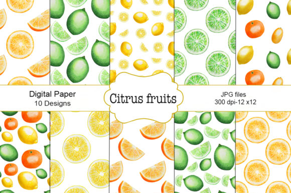 Seamless Pattern Citrus Fruit Watercolor Graphic Illustrations By shishkovaiv