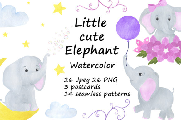 Set Cute Little Elephant Watercolor Graphic Illustrations By shishkovaiv