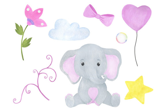 Download Free Set Cute Little Elephant Watercolor Graphic By Shishkovaiv for Cricut Explore, Silhouette and other cutting machines.